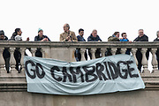 Greater London. United Kingdom, Banner hanging fro Chiswick Bridge supporting Cambridge University Boat Races , Cambridge University vs Oxford University. Putney to Mortlake,  Championship Course, River Thames, London. <br /> <br /> Saturday  24.03.18<br /> <br /> [Mandatory Credit  Intersport Images]