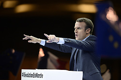 """Former French Economy Minister, founder and president of the political movement """"En Marche !"""" and candidate for next year's presidential election Emmanuel Macron delivers his speech during the campaign rally at porte de Versailles in Paris, France, on December 10, 2016. Photo by Eliot Blondet/ABACAPRESS.COM"""