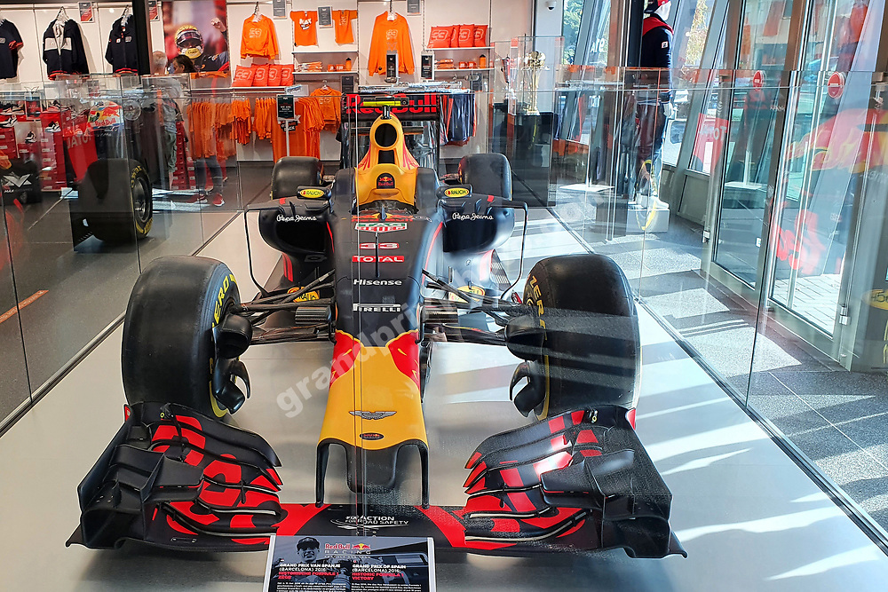 Inside the Max Verstappen Store (Red Bull-Honda) in Swalmen near Roermond with his first F1 winning car before the 2021 Russian Grand Prix at Sochi. Photo: Grand Prix Photo/ Michael Stirnberg