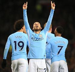 10 December 2017 -  Premier League - Manchester United v Manchester City - David Silva of Manchester City celebrates scoring  the opening goal - Photo: Marc Atkins/Offside