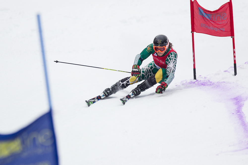 Travis Dawson of the University of Vermont, skis during the second run of the men's giant slalom at Jiminy Peak on February 15, 2014 in Hancock, MA. (Dustin Satloff/EISA)