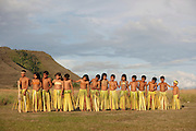 School children of the Pemon peoples, an Amerindian tribe, performing a dance at Uruyen village, Canaima National Park, Venezuela