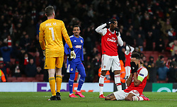 Pierre-Emerick Aubameyang of Arsenal agonises over a late chance to score - Mandatory by-line: Arron Gent/JMP - 27/02/2020 - FOOTBALL - Emirates Stadium - London, England - Arsenal v Olympiacos - UEFA Europa League Round of 32 second leg