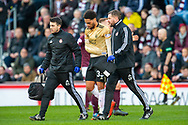 Zak Vyner (#33) of Aberdeen FC leaves the pitch injured during the Ladbrokes Scottish Premiership match between Heart of Midlothian FC and Aberdeen FC at Tynecastle Stadium, Edinburgh, Scotland on 29 December 2019.