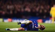 Eden Hazard of Chelsea reacts in pain on the ground after being fouled .Premier league match, Chelsea v Manchester United at Stamford Bridge in London on Sunday 5th November 2017.<br /> pic by Andrew Orchard sports photography.