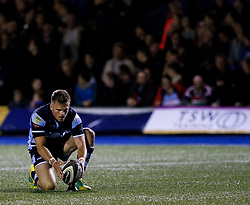 Gareth Anscombe of Cardiff Blues lines up a kick at goal<br /> <br /> Photographer Simon King/Replay Images<br /> <br /> Guinness PRO14 Round 4 - Cardiff Blues v Munster - Friday 21st September 2018 - Cardiff Arms Park - Cardiff<br /> <br /> World Copyright © Replay Images . All rights reserved. info@replayimages.co.uk - http://replayimages.co.uk