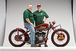 """Kiwidinok"", (The Lady of the Wind) a red board track racer built with an Indian flathead by Kiwi Indian. Photographed by Michael Lichter during the Easyriders Bike Show in Columbus, OH on February 21, 2016. ©2016 Michael Lichter."