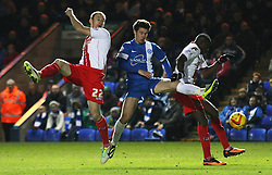 Peterborough United's Tommy Rowe in action with Stevenage's David Gray and Stevenage's Lucas Akins - Photo mandatory by-line: Joe Dent/JMP - Tel: Mobile: 07966 386802 23/11/2013 - SPORT - Football - Peterborough - London Road Stadium - Peterborough United v Stevenage - Sky Bet League One