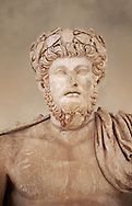 Roman sculpture of the Emperor Lucius Verus, excavated from Bulla Regia Theatre, sculpted circa 161-169 AD. The Bardo National Museum, Tunis. .<br /> <br /> If you prefer to buy from our ALAMY STOCK LIBRARY page at https://www.alamy.com/portfolio/paul-williams-funkystock/greco-roman-sculptures.html . Type -    BARDO    - into LOWER SEARCH WITHIN GALLERY box - Refine search by adding a subject, place, background colour, museum etc.<br /> <br /> Visit our CLASSICAL WORLD HISTORIC SITES PHOTO COLLECTIONS for more photos to download or buy as wall art prints https://funkystock.photoshelter.com/gallery-collection/The-Romans-Art-Artefacts-Antiquities-Historic-Sites-Pictures-Images/C0000r2uLJJo9_s0c