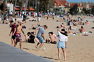 Locals play soccer during COVID-19 in Melbourne, Australia. Premier Daniel Andrews comes down hard on Victorians breaching COVID 19 restrictions, threatening to close beaches if locals continue to flout the rules. This comes as Victoria sees single digit new cases. (Photo by Dave Hewison/Speed Media)