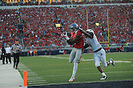 Mississippi Rebels wide receiver Damore'ea Stringfellow (3) makes a 20 yard touchdown catch against Vanderbilt Commodores cornerback Torren McGaster (5) with 2:13 remaining in the first quarter at Vaught-Hemingway Stadium at Ole Miss in Oxford, Miss. on Saturday, September 26, 2015. (AP Photo/Oxford Eagle, Bruce Newman)