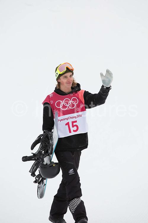 Carlos Garcia Knight, New Zealand, at the mens snowboard big air finals at the Pyeongchang 2018 Winter Olympics on 24th February 2018, at the Alpensia Ski Jumping Centre in Pyeongchang-gun, South Korea