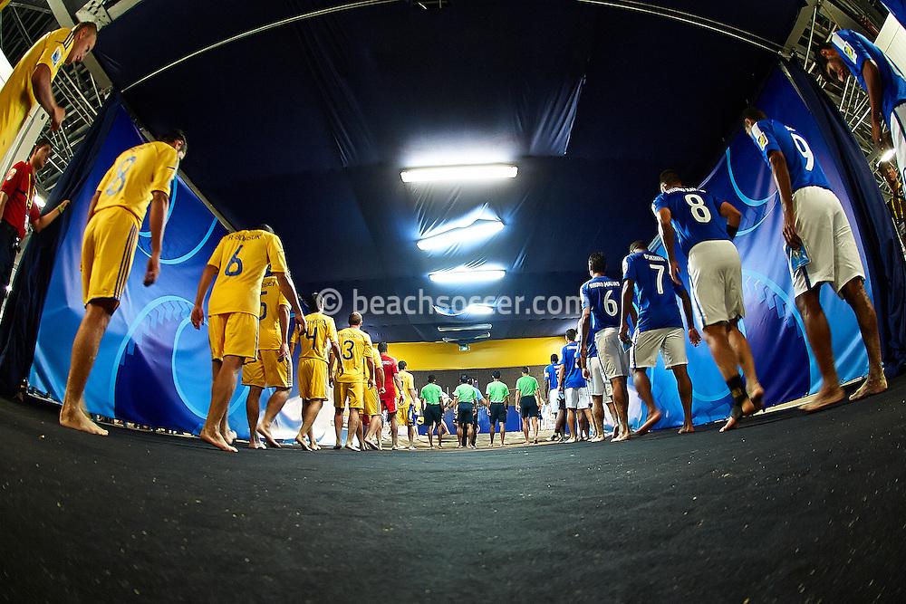 PAPEETE, TAHITI - OCTOBER 22:  FIFA Beach Soccer World Cup Tahiti 2013 between Brazil and Senegal at Stadium Tahua To´ata  on October 22, 2013 in Papeete, Tahiti. (Photo by Manuel Queimadelos)