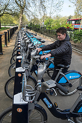 Bicycles for hire in Hyde Park London United Kingdom