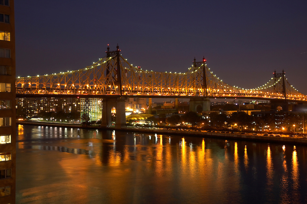 Night view of the 59th Street Bridge from 45 Sutton Place South, 10th floor