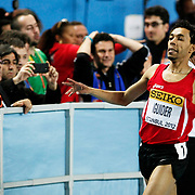 Morocco's Abdalaati Iguider celebrates winning the gold medal in the Men's 1500m final during the IAAF World Indoor Championships at the Atakoy Athletics Arena, Istanbul, Turkey. Photo by TURKPIX