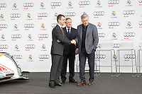 Carlo Ancelotti and Florentino Perez participates and receives new Audi during the presentation of Real Madrid's new cars made by Audi in Madrid. December 01, 2014. (ALTERPHOTOS/Caro Marin)