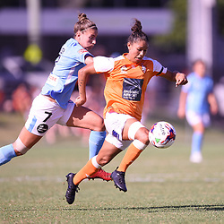 BRISBANE, AUSTRALIA - FEBRUARY 11: Allira Toby of the Roar and Stephanie Catley of Melbourne compete for the ball during the Westfield W-League Semi Final match between the Brisbane Roar and Melbourne City at Perry Park on February 11, 2018 in Brisbane, Australia. (Photo by Patrick Kearney / Brisbane Roar)