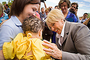 Oct. 4, 2010 - PHOENIX, AZ: Arizona Governor JAN BREWER talks to children at Maricopa Medical Center in Phoenix, AZ, Monday. She was at the hospital to declare Arizona Child Health Day. Gov. Brewer is running for reelection appears headed to an easy win. Since signing Arizona's tough immigration bill, SB 1070, and cutting budgets for some of Arizona's social services, like health care for children, her popularity has soared. Her reelection campaign has been dogged by protests from education, health care and immigration advocates but she doesn't engage them and continues to be popular in pre-election polling.      Photo by Jack Kurtz
