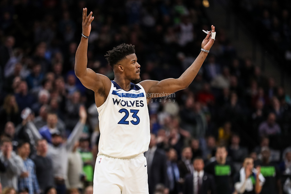 Feb 15, 2018; Minneapolis, MN, USA; Minnesota Timberwolves guard Jimmy Butler (23) celebrates during the fourth quarter against the Los Angeles Lakers at Target Center. Mandatory Credit: Brace Hemmelgarn-USA TODAY Sports