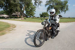 Norm Nelson riding his 1911 single-cylinder, single-speed, belt drive Class-1 Reading Standard motorcycle during the Motorcycle Cannonball Race of the Century. Day-4 ride from Bloomington, IN to Cape Girardeau, MO. USA. Wednesday September 14, 2016. Photography ©2016 Michael Lichter.