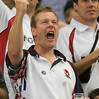 14 September 2007: An England's fan roots for his team during the players introduction prior to the Rugby Union World Cup match won 36-0 by South Africa over England at the Stade De France stadium in Saint-Denis, near Paris, France.