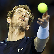 Andy Murray serves during the doubles Semi Final. Davis Cup at The Emirates Arena, Glasgow, UK. 19-09-15