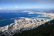 The view of the strait and port of Gibraltar, the British overseas territory