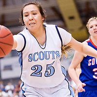 021613       Cable Hoover<br /> <br /> Window Rock Scout Aspen Sheperd (25) spins away from Camp Verde Cowboy Katie Wilson (34) to reach for a pass during the Arizona State Tournament at the NAU Walkup Skydome in Flagstaff Saturday.