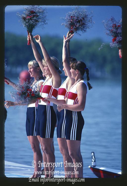 Banyoles, SPAIN, German Women's Quadruple Sculls, GER W4X, Gold Medalist. Kerstin MUELLER , Kristina MUNDT - RICHTER , Birgit PETER , Sybille SCHMIDT. 1992 Olympic Regatta, Lake Banyoles, Barcelona, SPAIN.    [Mandatory Credit: Peter Spurrier: Intersport Images]