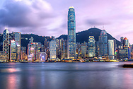 This view of Hong Kong is known around the world. Captured just as the sun set on the horizon we get an incredible display of purple, pink, red and blue light reflected on the buildings. Standing on the Kowloon side of the harbour we can see Central district with the China Bank building to the left, HSBC building and the more modern IFC above the MTR Central station in the centre fading out towards the international ferry terminal.
