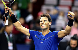 SHANGHAI, Oct. 12, 2017  Rafael Nadal of Spain celebrates after the singles third round match against Fabio Fognini of Italy at 2017 ATP Shanghai Masters tennis tournament in Shanghai, east China, on Oct. 12, 2017. Nadal won 2-0. (Credit Image: © Fan Jun/Xinhua via ZUMA Wire)
