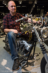 Spok Motor's Juho Rouhu with his Hard Soup custom Harley-Davidson Shovelhead / Evo from Helsinki, Finland in the AMD World Championship of Custom Bike Building show in the custom dedicated Hall 10 at the Intermot Motorcycle Trade Fair. Cologne, Germany. Saturday October 8, 2016. Photography ©2016 Michael Lichter.