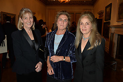 LONDON, ENGLAND 28 NOVEMBER 2016: Left to right, Countess Alexander of Tunis, Princess Victoria von Preussen and Princess Ziba von Preussen at a reception to celebrate the publication of The Sovereign Artist by Christopher Le Brun and Wolf Burchard held at the Royal Academy of Art, Piccadilly, London, England. 28 November 2016.