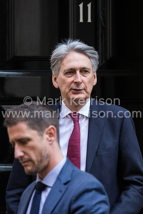 London, UK. 10th April 2019. Chancellor of the Exchequer Philip Hammond leaves 11 Downing Street to attend Prime Minister's Questions in the House of Commons.
