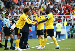 June 23, 2018 - Moscou, Russie - Moscow, Russia - June 23 : Marouane Fellaini midfielder of Belgium, Romelu Lukaku forward of Belgium during the FIFA 2018 World Cup Russia group G phase match between Belgium and Tunisia at the Spartak Stadium on June 23, 2018 in Moscow, Russia 23/06/2018  (Credit Image: © Panoramic via ZUMA Press)