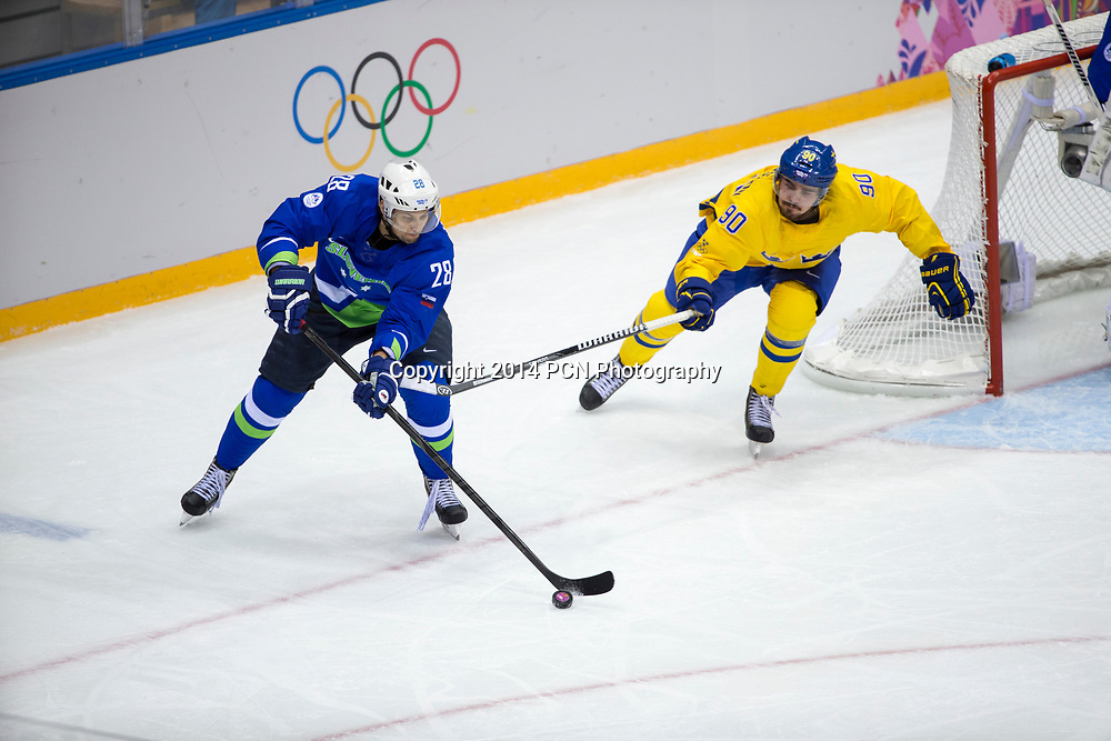 Ales Kranjc (SLO)-28, Marcus Johansson (SWE)-90 during Sweden vs Slovenia game at the Olympic Winter Games, Sochi 2014