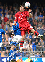 Photo: Ashley Pickering.<br /> Ipswich Town v Cardiff City. Coca Cola Championship. 06/05/2007.<br /> Darcy Blake of Cardiff (red) wins a header