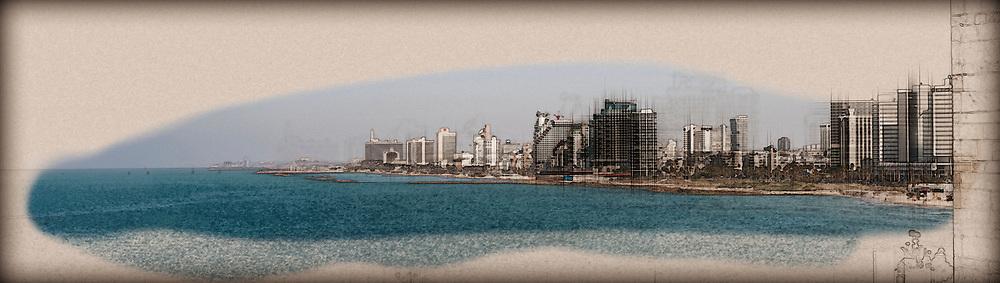 Israel, Tel Aviv coastline as seen from south from Old Jaffa. Digitally enhanced