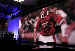A tribute to Paul Futcher on the big screen during the Professional Footballers' Association Awards 2017 at the Grosvenor House Hotel, London