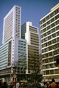 CBD buildings downturn city centre of Sao Paulo, Brazil, South America 1962