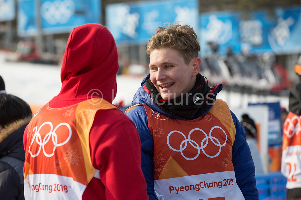 Alexander Glavatsky-Yeadon with Peter Speight, Great Britain, following the mens skiing halfpipe Qualification at the Pyeongchang 2018 Winter Olympics on February 20th 2018, at the Phoenix Snow Park in Pyeongchang-gun, South Korea.