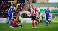 Lincoln City's Harry Anderson reacts after Gillingham's Jack Bonham prevented him from scoring with a header<br /> <br /> Photographer Chris Vaughan/CameraSport<br /> <br /> The EFL Sky Bet League One - Lincoln City v Gillingham - Saturday 22nd February 2020 - LNER Stadium - Lincoln<br /> <br /> World Copyright © 2020 CameraSport. All rights reserved. 43 Linden Ave. Countesthorpe. Leicester. England. LE8 5PG - Tel: +44 (0) 116 277 4147 - admin@camerasport.com - www.camerasport.com
