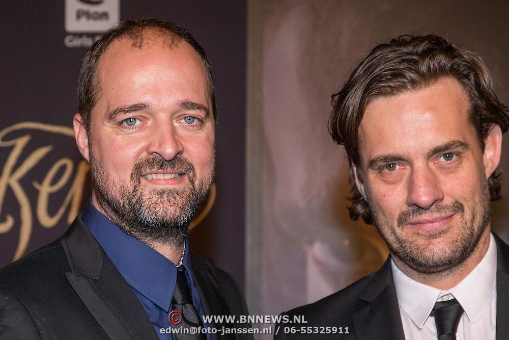 NLD/Haarlem/20140324 - Filmpremiere Kenau, Acteurs Kees Boot (L) en Vincent Croiset