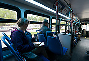 Madison Mayor Satya Rhodes-Conway rides a Metro Transit bus on her way to meetings in Madison, WI on Thursday, May 16, 2019.