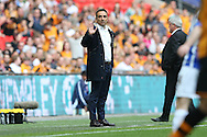 Sheffield Wednesday head coach Carlos Carvalhal looks on from the touchline. Skybet football league Championship play off final match, Hull city v Sheffield Wednesday at Wembley Stadium in London on Saturday 28th May 2016.<br /> pic by John Patrick Fletcher, Andrew Orchard sports photography.