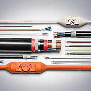 A studio product shoot showing different industrial cables in a large range shot.