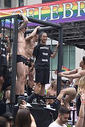 June 24, 2018 - January 24, 2018 - 2018 Pride Parade - Designer Alexander Wang on the Trojan Condom Float With a T-Shirt reading ''Protect your Wang' (Credit Image: © Dan Herrick via ZUMA Wire)