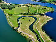Nederland, Gelderland, Gemeente Buren, 27-05-2020; Eiland van Maurik, rivier de Lek. Sluis- en Stuwcomplex Amerongen in de Neder-rijn. Ook bekend als Stuw Maurik. Detail met vispassage. De stuw reguleert waterniveau in de Neder-rijn. Direct naast de stuw de waterkrachtcentrale van Nuon. Op het stuweiland verder de schutsluis. Het stuwcomplex is gerenoveerd. <br /> Barrage or flood gate in Lower Rhine, regulates waterlevel. Southeast of Utrecht. The Lower Rhine is a rain river, with especially in the winter large amounts of water (melt water), in the summer there is a shortage of water. The weir ensures sufficiently high water level for shipping. Next to the dam the hydroelectric station, fish ladder and shipping lock.<br /> <br /> luchtfoto (toeslag op standaard tarieven);<br /> aerial photo (additional fee required)<br /> copyright © 2020 foto/photo Siebe Swart