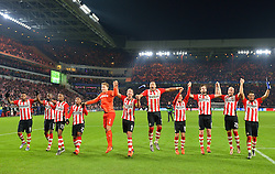 08-12-2015 NED: UEFA CL PSV - CSKA Moskou, Eindhoven<br /> PSV wint met 2-1 en plaatst zich voor de volgende ronde in de CL /  (L-R), Jurgen Locadia of PSV, Nicolas Isimat-Mirin of PSV, Joshua Brenet of PSV, Steven Bergwijn of PSV, Goalkeeper Jeroen Zoet of PSV, Luuk de Jong of PSV, Jeffrey Bruma of PSV, Andres Guardado of PSV, Davy Propper of PSV, Jorrit Hendrix of PSV, Hector Moreno of PSV
